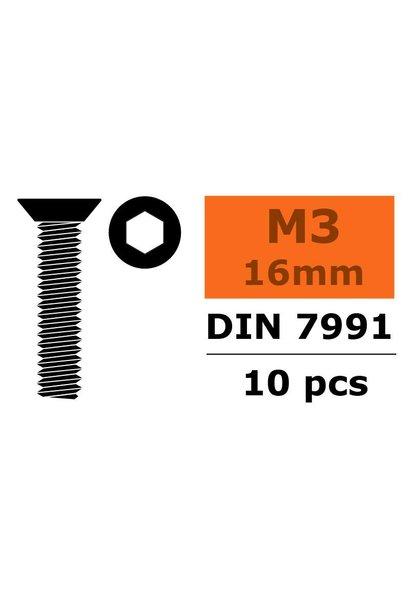 Revtec - Verzonkenkopschroef - Binnenzeskant - M3X16 - Staal - 10 st