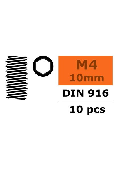 Revtec - Stelschroef - Binnenzeskant - M4X10 - Staal - 10 st