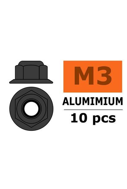 Revtec - Aluminium zelfborgende zeskantmoer met flens - M3 - Gun Metaal - 10 st