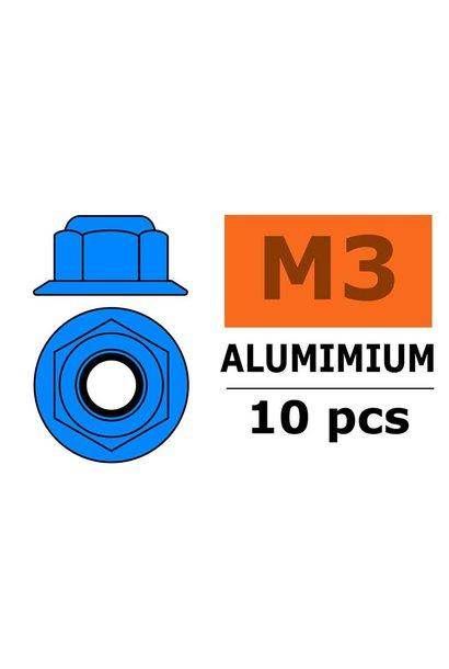 Revtec - Aluminium zelfborgende zeskantmoer met flens - M3 - Blauw - 10 st