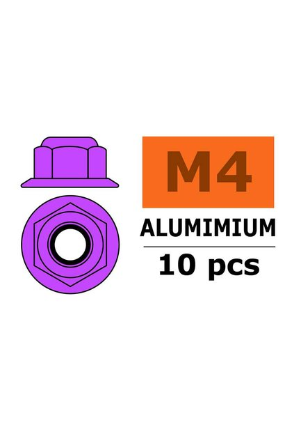 Revtec - Aluminium zelfborgende zeskantmoer met flens - M4 - Paars - 10 st