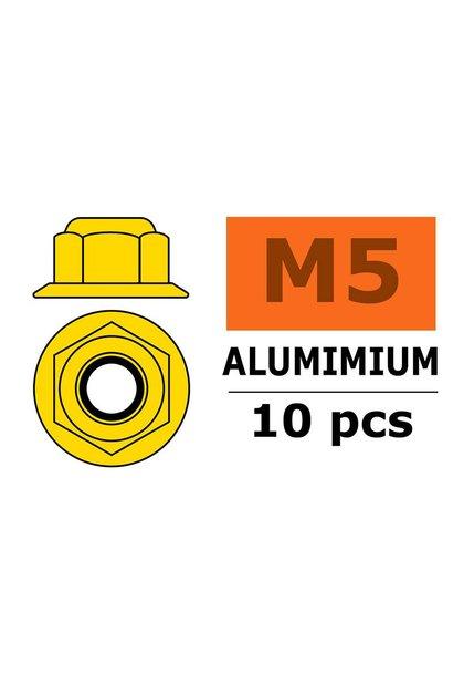 Revtec - Aluminium zelfborgende zeskantmoer met flens - M5 - Goud - 10 st