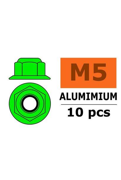 Revtec - Aluminium zelfborgende zeskantmoer met flens - M5 - Groen - 10 st