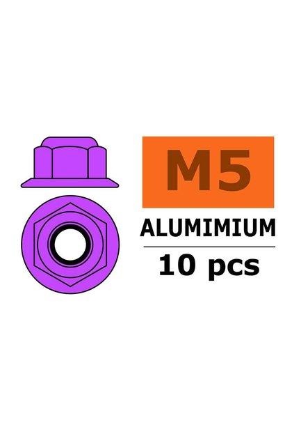 Revtec - Aluminium zelfborgende zeskantmoer met flens - M5 - Paars - 10 st