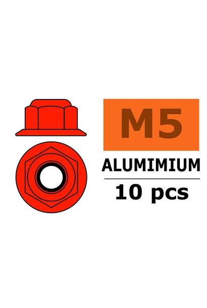Revtec - Aluminium zelfborgende zeskantmoer met flens - M5 - Rood - 10 st