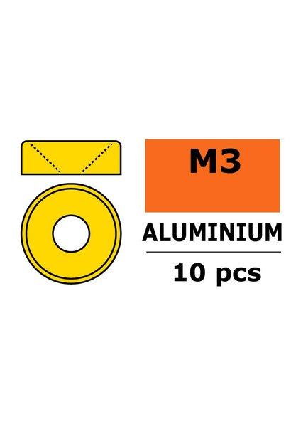 Revtec - Aluminium sluitring - voor M3 Verzonkenkopschroeven - BD=8mm - Goud - 10 st