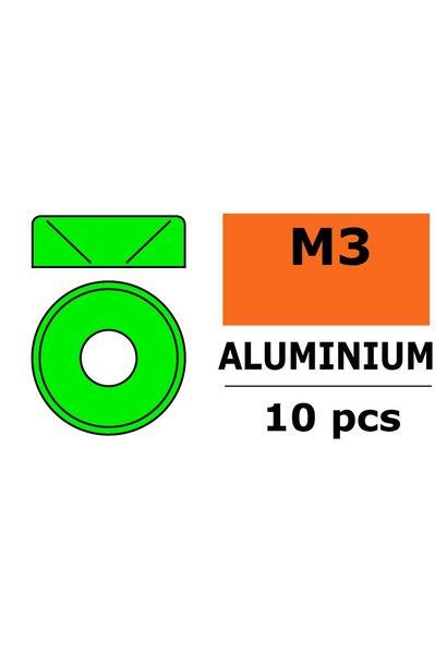 Revtec - Aluminium sluitring - voor M3 Verzonkenkopschroeven - BD=8mm - Groen - 10 st