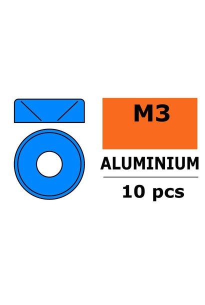 Revtec - Aluminium sluitring - voor M3 Verzonkenkopschroeven - BD=8mm - Blauw - 10 st