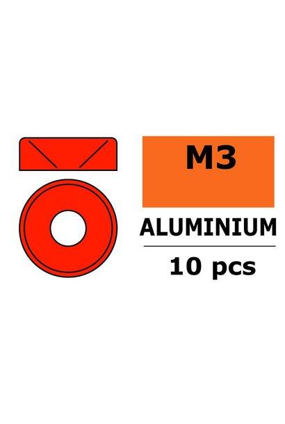 Revtec - Aluminium sluitring - voor M3 Verzonkenkopschroeven - BD=8mm - Rood - 10 st