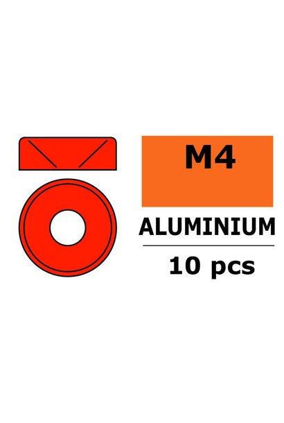 Revtec - Aluminium sluitring - voor M4 Verzonkenkopschroeven - BD=10mm - Rood - 10 st
