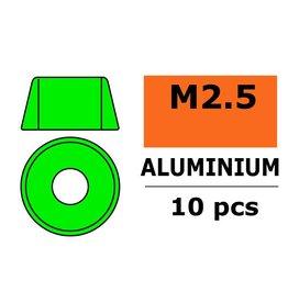 G-Force RC Revtec - Aluminium sluitring - voor M2.5 Cilinderkopschroeven - BD=7mm - Groen - 10 st