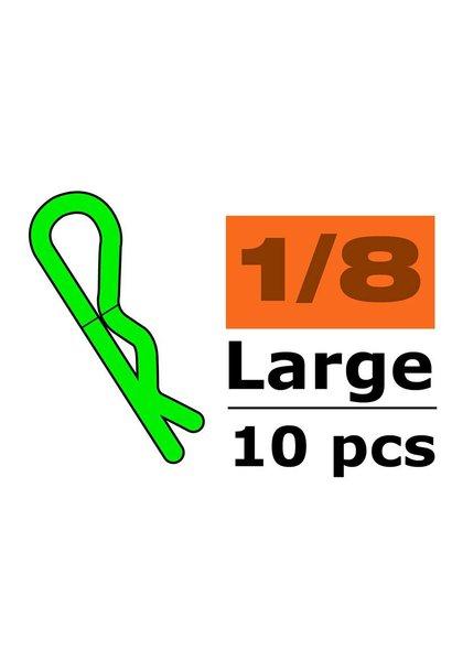 Revtec - Carrosserie clipsen - 45° gebogen - Groot - Groen - 10 st