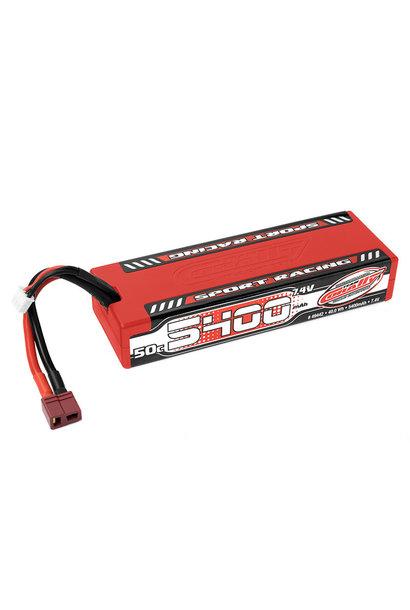 Team Corally - Sport Racing 50C LiPo Battery - 5400mAh - 7.4V - Stick 2S - Hard Wire - T-Plug