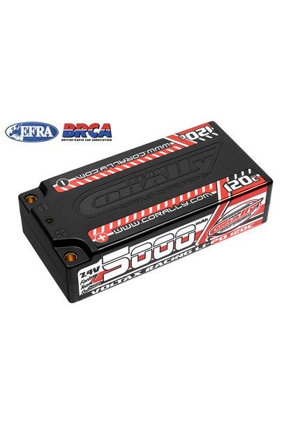 Team Corally - Voltax 120C LiPo Battery - 5000mAh - 7.4V - Shorty 2S - 4mm Bullit