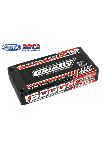 Team Corally - Voltax 120C LiPo HV Battery - 8000 mAh - 3.8V - 1S Hardcase - 4mm Bullit