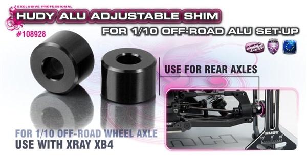 ALU ADJ. SHIM FOR 1/10 OFF-ROAD ALU SET-UP - XRAY XB4 (2), H108928-2