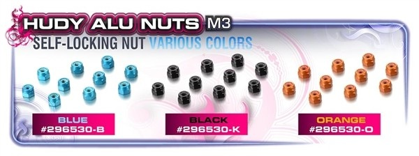 ALU NUT M3 - ORANGE (10), H296530-O-2