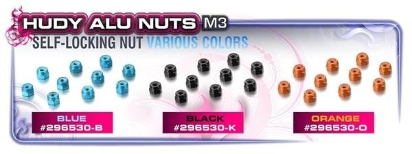 ALU NUT M3 - BLACK (10), H296530-K-2