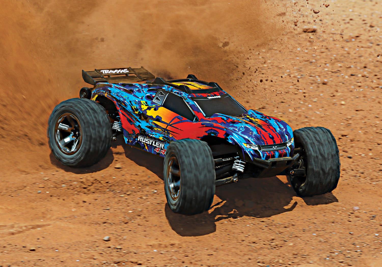 Traxxas Rustler 4X4 VXL TQi TSM (no battery/charger), Red, TRX67076-4R-8