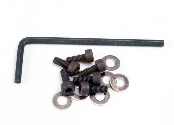 Backplate screws (3x8mm hex cap) (6)/washers (6)/ wrench, TRX1552-2