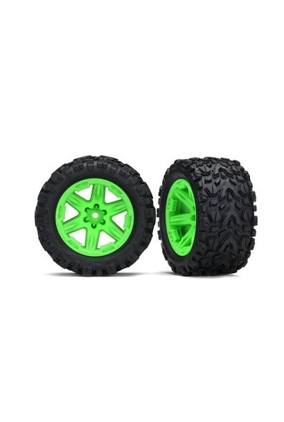 Tires & wheels, assembled, glued (2.8') (RXT green wheels, Talon Extreme tires, foam inserts) (2WD electric rear) (2) (TSM rated)