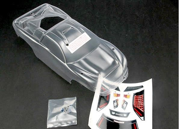 Body, Nitro Rustler (clear, requires painting)/window, grill, TRX4412-2