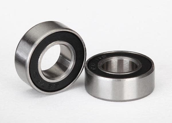 Ball bearings, black rubber sealed (7x14x5mm) (2), TRX5103A-2