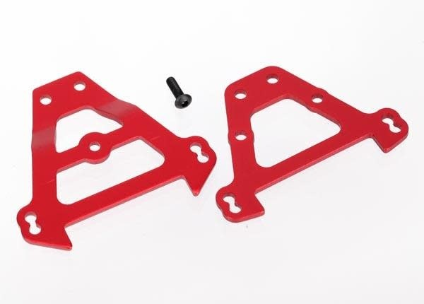 Bulkhead tie bars, front & rear (red-anodized aluminum), TRX5323R-2