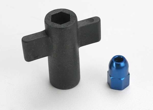 Antenna crimp nut, aluminum (blue-anodized)/ antenna nut too, TRX5526-2