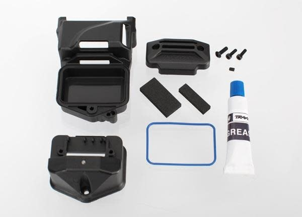 Box, receiver (sealed) (servo mount)/ foam (2)/ BCS 3x10mm/, TRX6424-2