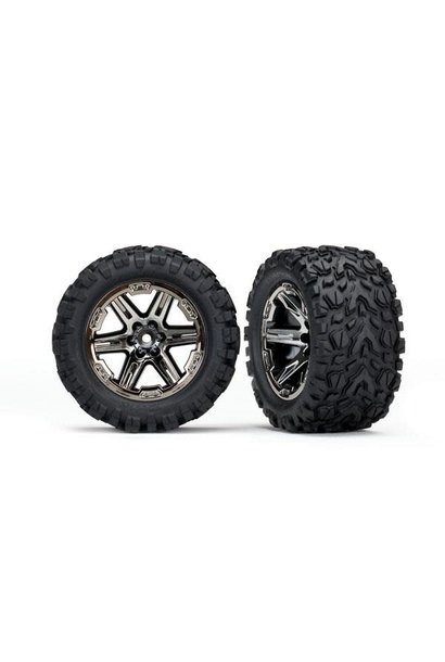 Tires & wheels, assembled, glued (2.8') (RXT black chrome wheels, Talon Extreme tires, foam inserts) (2WD electric rear) (2) (TSM rated)