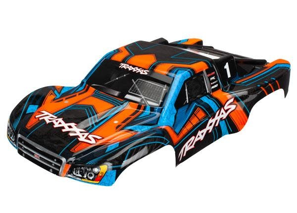Body, Slash 4X4, orange and blue (painted, decals applied)-1