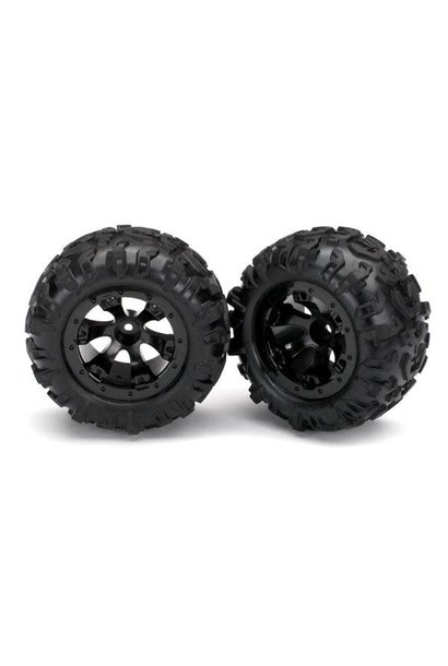 Tires and wheels, assembled, glued (Geode black, beadlock style wheels, Canyon A