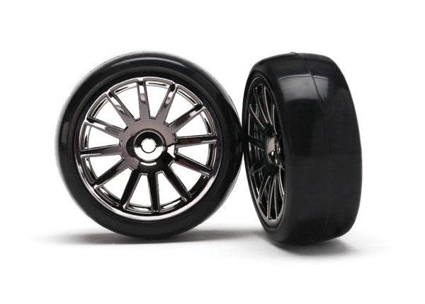 12-Sp Blk Wheels, Slick Tires Tires & Wh, TRX7573A-2