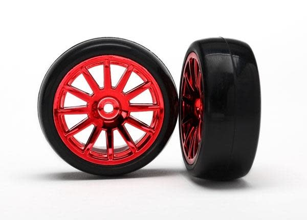 12-Sp Red Wheels, Slick Tires Tires & Wh, TRX7573X-2