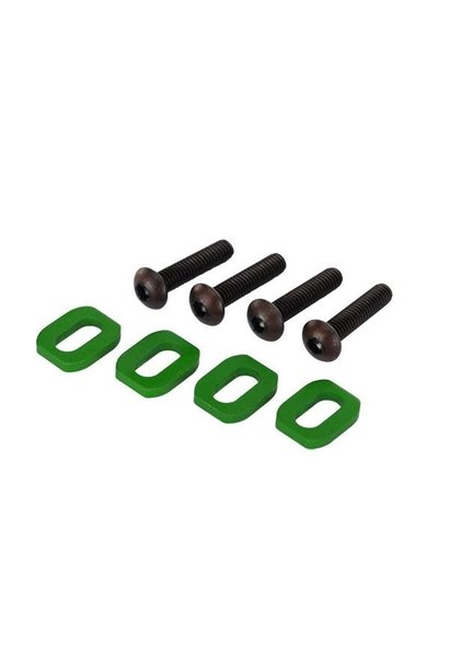 Washers, motor mount, aluminum (green-anodized) (4)/ 4x18mm, TRX7759G