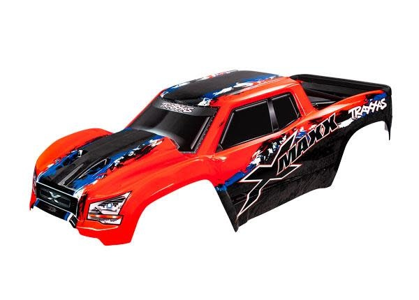 BODY, X-MAXX®, RED (PAINTED, DECALS APPLIED) (ASSEMBLED WITH FRONT & REAR BODY MOUNTS, REAR BODY SUPPORT, AND TAILGATE PROTECTOR)-1
