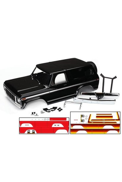 Body, Ford Bronco, complete (black) (includes front and rear bumpers, push bar,