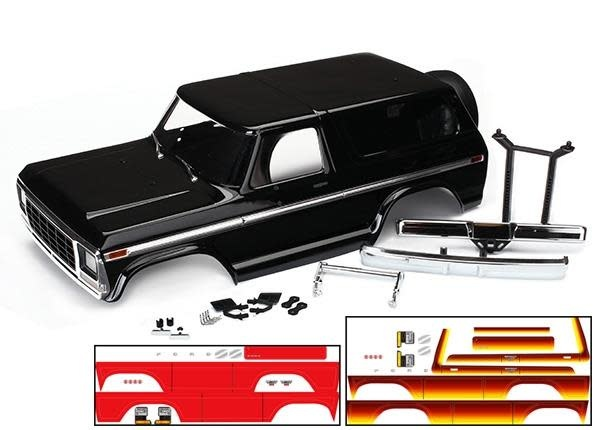 Body, Ford Bronco, complete (black) (includes front and rear bumpers, push bar,-1