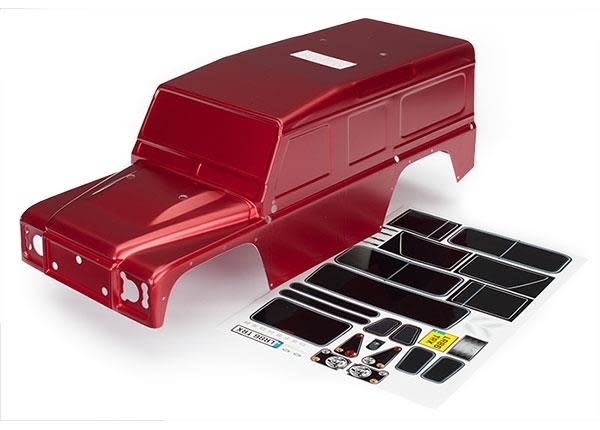 Body, Land Rover Defender, red (painted)/ decals, TRX8011R-1
