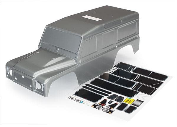 Body, Land Rover Defender, graphite silver (painted)/ decals, TRX8011X-1