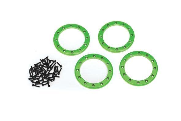 Beadlock rings, green (2.2) (aluminum)  (4)/ 2x10 CS (48)-1