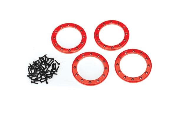 Beadlock rings, red (2.2) (aluminum) (4)/ 2x10 CS (48)-1