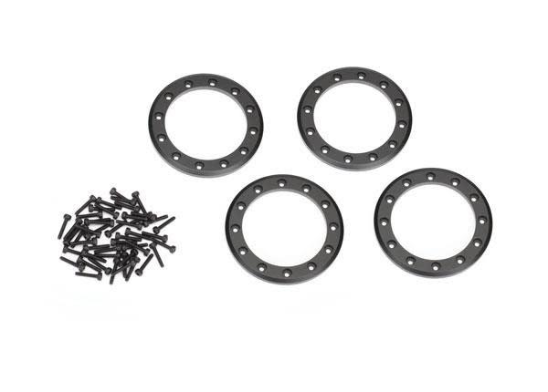 Beadlock rings, black (2.2) (aluminum)   (4)/ 2x10 CS (48)-1