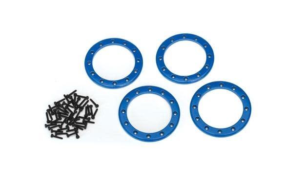 Beadlock rings, blue (2.2) (aluminum) (4)/ 2x10 CS (48)-1