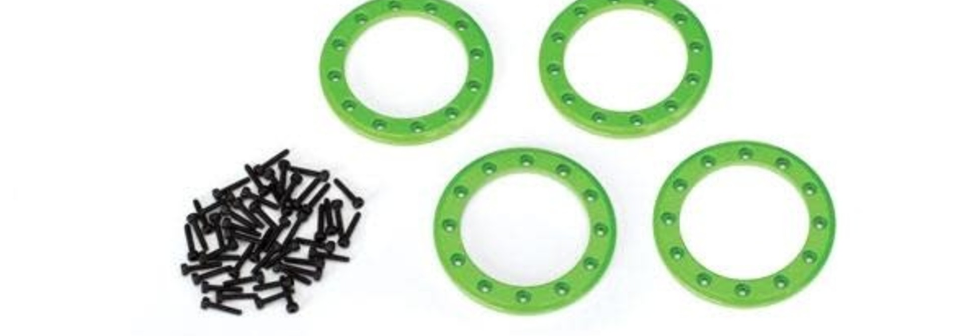 Beadlock rings, green (1.9') (aluminum) (4)/ 2x10 CS (48)