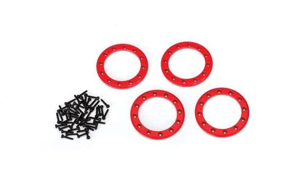Beadlock rings, red (1.9') (aluminum) (4)/ 2x10 CS (48)-1