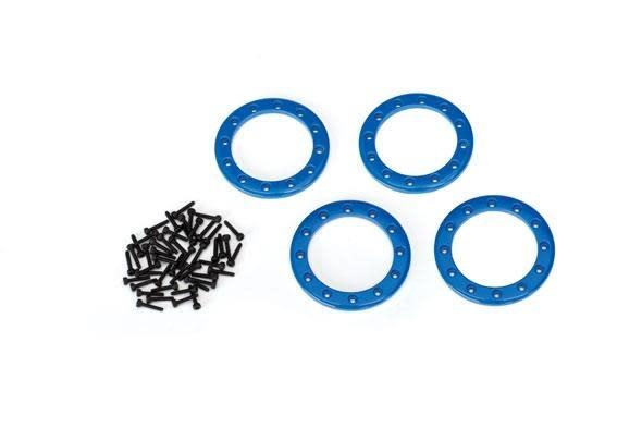 Beadlock rings, blue (1.9') (aluminum) (aluminum) (4)/ 2x10 CS (48)-1