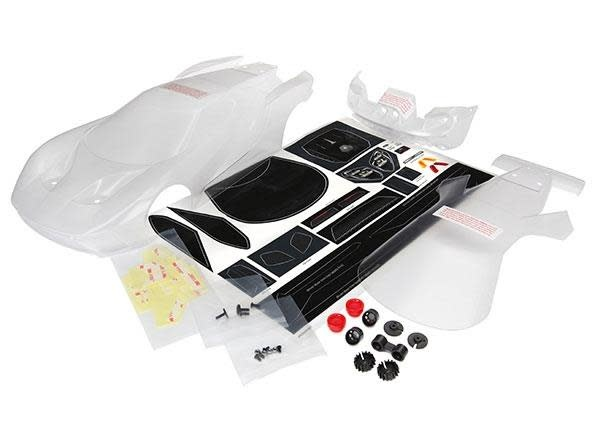 Body, Ford GT (clear, requires painting)/ decal sheet (incl, TRX8311-1