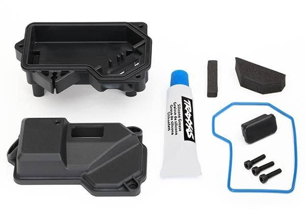 Box, receiver (sealed) (steering servo mount)/ receiver cove, TRX8324-2